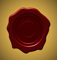 Red wax seal on gold gradient background vector image