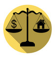 house and dollar symbol on scales  flat vector image