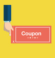 business hand holding red coupon discount coupon vector image vector image