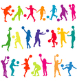 Colored kids silhouettes playing with balls vector image vector image