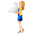 An office girl holding an empty signboard vector image vector image