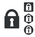 Locked icon set monochrome vector image