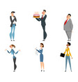 office cartoon workers set vector image
