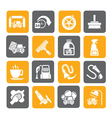 Silhouette car wash objects and icons vector image