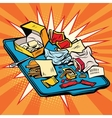 Tray at fast food restaurant vector image