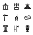 Gallery in museum icons set simple style vector image