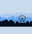 amusement park landscape silhouettes background vector image