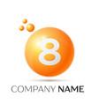 number eight splash logo orange dots and bubbles vector image