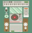 music production flat icon set vector image