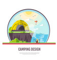 flat style design of seaside landscape and camping vector image