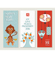 Chinese new year 2016 monkey label card set cute vector image