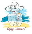 Girl on a Beach with Cocktail vector image