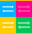 arrow simple sign four styles of icon on four vector image