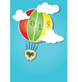 Hot air balloon in the sky and Happy New Year vector image