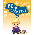 Poster design with boy reading books vector image