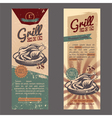 Set with vintage retro banner with chicken grill vector image