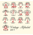 Vintage alphabet set letters part 1 vector image