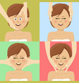 woman having facial massage in spa top view vector image