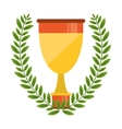 Isolated trophy inside wreath design vector image