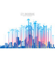 cityscape with skyscrapers and colorful arrow vector image vector image