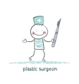 plastic surgeon with a scalpel vector image