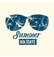 Summer emblem with grunge texture vector image