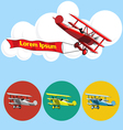 Old airplane model flying in the sky with clouds vector image