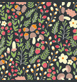 forest pattern seamless pattern with flowers vector image