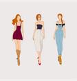 hand drawn fashion models concept vector image