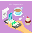 isometric 3d concept for mobile online payment vector image