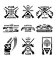 labels set for shooting club of vector image