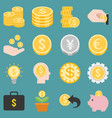 money and coins icons set vector image