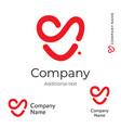 red heart line logo modern love identity brand vector image