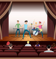 rock band concert on stage and guitarist vector image