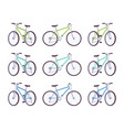 set of sport bicycles in green turquoise blue vector image