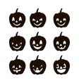 Set pumpkins silhouette icons of the day halloween vector image