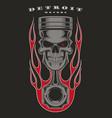 skull piston biker emblem vector image