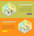 supermarket departments isometric web banners set vector image