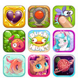 funny cartoon app icons for game design vector image
