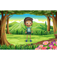 A smiling thin boy at the forest vector image vector image