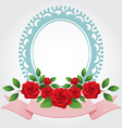 Red Roses Round Shape Frame and Border vector image vector image