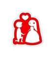 paper sticker on white background groom on knees vector image