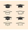 Graduation cap logos set Graduation hat logo set vector image