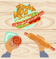 fast food with beer vector image