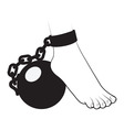Foot ball and chain vector image