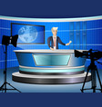 journalist at work from tv studio vector image