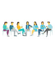 seven people set work sitting on chairs men and vector image