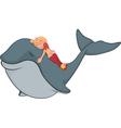 The girl and whale vector image
