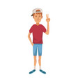 young guy standing waving hand cheerful cartoon vector image
