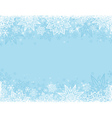 Blue background with frame of snowflakes and stars vector image